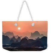 Karst Mountains Scenery In Sunset Weekender Tote Bag