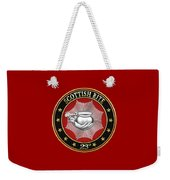 23rd Degree - Chief Of The Tabernacle Jewel On Red Leather Weekender Tote Bag