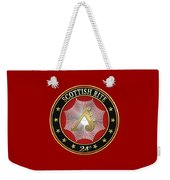 24th Degree - Prince Of The Tabernacle Jewel On Red Leather Weekender Tote Bag