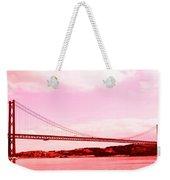 25 De Abril Bridge In Crimson Weekender Tote Bag