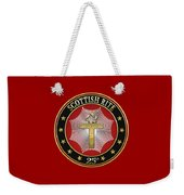 25th Degree - Knight Of The Brazen Serpent Jewel On Red Leather Weekender Tote Bag