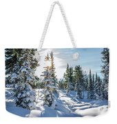 Amazing Landscape With Frozen Snow-covered Trees In Winter Morning  Weekender Tote Bag