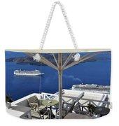 28 September 2016 Restaurant By The Aegean Sea  In Santorini, Greece  Weekender Tote Bag
