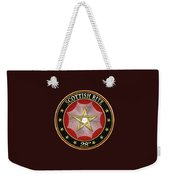 28th Degree - Knight Commander Of The Temple Jewel On Black Leather Weekender Tote Bag