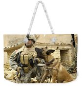 A Dog Handler And His Military Working Weekender Tote Bag