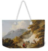 A Mother And Child Watching Workman In A Quarry Weekender Tote Bag