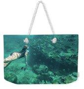 Apnea In Tropical Sea Weekender Tote Bag