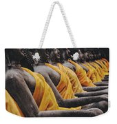 Carved Stone Buddha Statue Wat Temple Complex In Old Siam Kingdom Ayutthaya Thailand Weekender Tote Bag