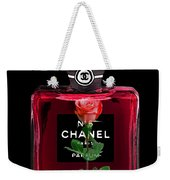 Chanel Perfume With Red Roses Weekender Tote Bag