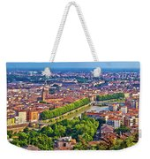 City Of Verona Old Center And Adige River Aerial Panoramic View Weekender Tote Bag