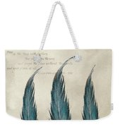 3 Feathers And Quote Weekender Tote Bag