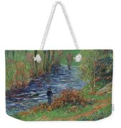 Fisher On The Bank Of The River Weekender Tote Bag