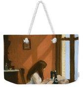 Girl At Sewing Machine Weekender Tote Bag
