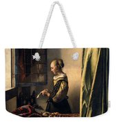 Girl Reading A Letter By An Open Window Weekender Tote Bag