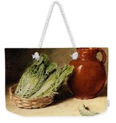 Hunt William Henry Still Life With A Jug A Cabbage In A Basket And A Gherkin William Henry Hunt Weekender Tote Bag