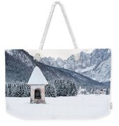Idyllic Landscapes Immersed In The Snow. The Dream Of The Julian Alps And Valbruna Weekender Tote Bag