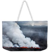 Lava And Plumes From The Holuhraun Weekender Tote Bag