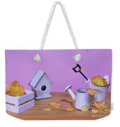 Miniature Gardening Kit With Pink Background Weekender Tote Bag
