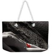 Nude Woman Lying On Rocks By The Water Weekender Tote Bag
