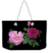 3 Pink Roses Cutout Weekender Tote Bag