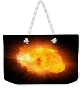 Realistic Fire Explosion, Orange Blast With Sparks Isolated On Black Background Weekender Tote Bag