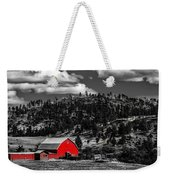Red Barn In Wyoming Weekender Tote Bag