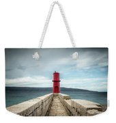 Red Lighthouse Of Cres On A Cloudy Day In Spring Weekender Tote Bag