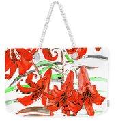 Red Lilies, Hand Drawn Painting Weekender Tote Bag