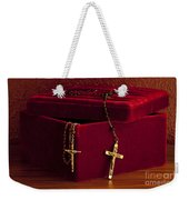Red Velvet Box With Cross And Rosary Weekender Tote Bag