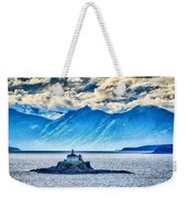 Remote Lighthouse Island Standing In The Middle Of Mud Bay Alask Weekender Tote Bag