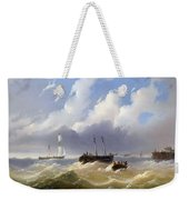 Ships On A Stormy Sea Weekender Tote Bag