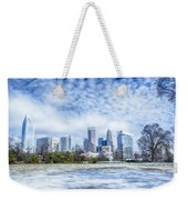 Snow And Ice Covered City And Streets Of Charlotte Nc Usa Weekender Tote Bag