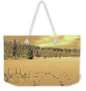Sunset At Winter Lake Weekender Tote Bag