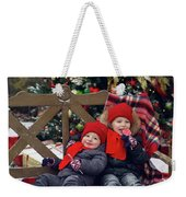 Two Children Sitting On A Bench With Candy Weekender Tote Bag