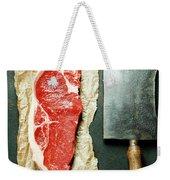 Vintage Cleaver And Raw Beef Steak Weekender Tote Bag