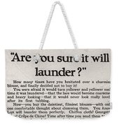 Sure It Will Launder Vintage Soap Ad  Weekender Tote Bag