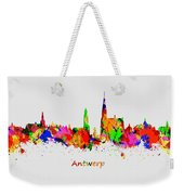 Watercolor Art Print Of The Skyline Of Antwerp In Belgium Weekender Tote Bag