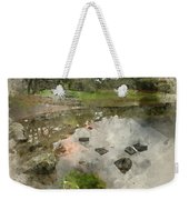 Watercolor Painting Of Beautiful Autumn Fall Landscape Image Of  Weekender Tote Bag