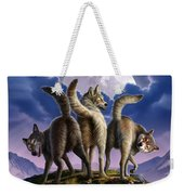 3 Wolves Mooning Weekender Tote Bag