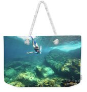 Woman Free Diving Weekender Tote Bag