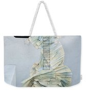 Woman With Black Boby Paint In Paper Dress Weekender Tote Bag