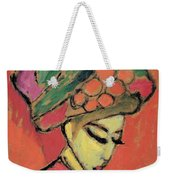 Young Girl With A Flowered Hat Weekender Tote Bag