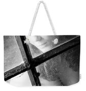Young Woman In Lingerie Sits On The Attic Behind A Window Weekender Tote Bag