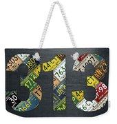 313 Area Code Detroit Michigan Recycled Vintage License Plate Art Weekender Tote Bag