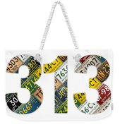 313 Area Code Detroit Michigan Recycled Vintage License Plate Art On White Background Weekender Tote Bag