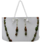 3525 Unakite Necklace And Earring Set Weekender Tote Bag
