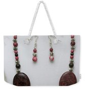3544 Rhodonite Necklace Bracelet And Earring Set Weekender Tote Bag