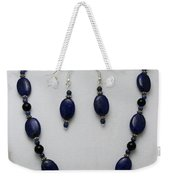 3555 Lapis Lazuli Necklace And Earring Set Weekender Tote Bag