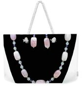3560 Rose Quartz Necklace And Earrings Set Weekender Tote Bag