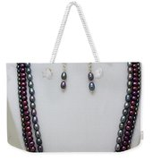 3562 Triple Strand Freshwater Pearl Necklace Set Weekender Tote Bag